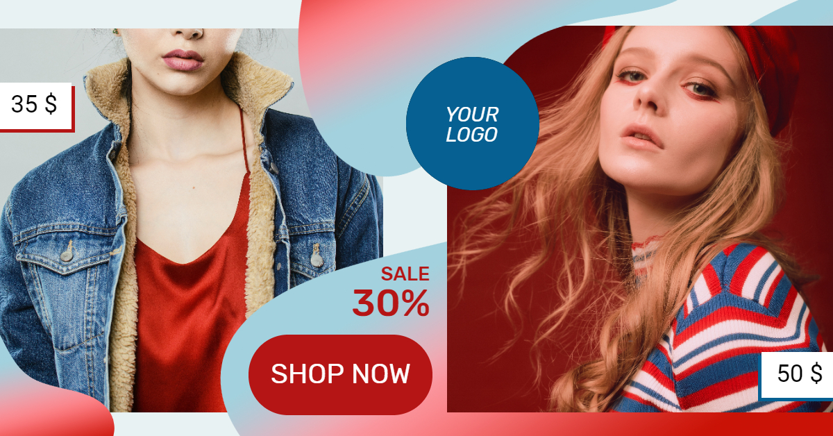 Red Blue Fashion Banner