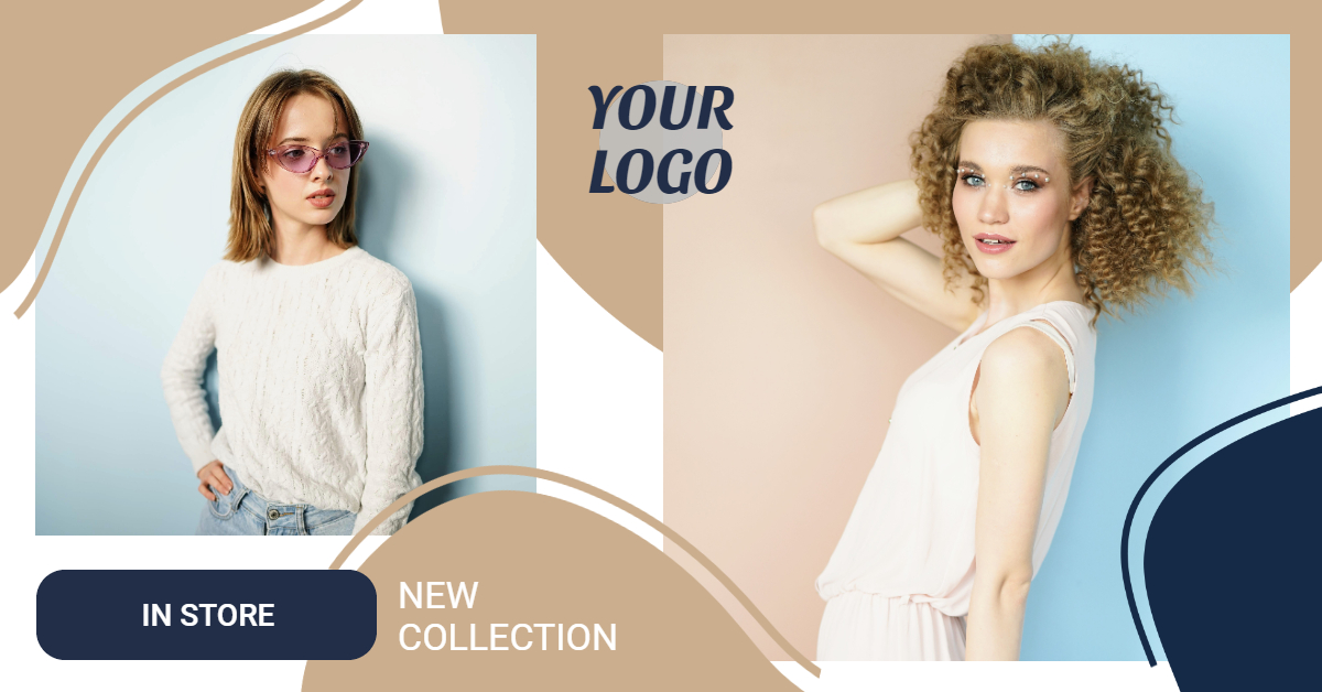Beige Blue Fashion Banner