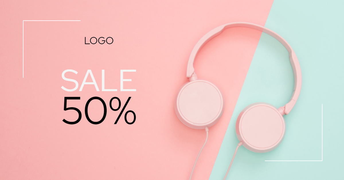 Pink Headphones Banner Template