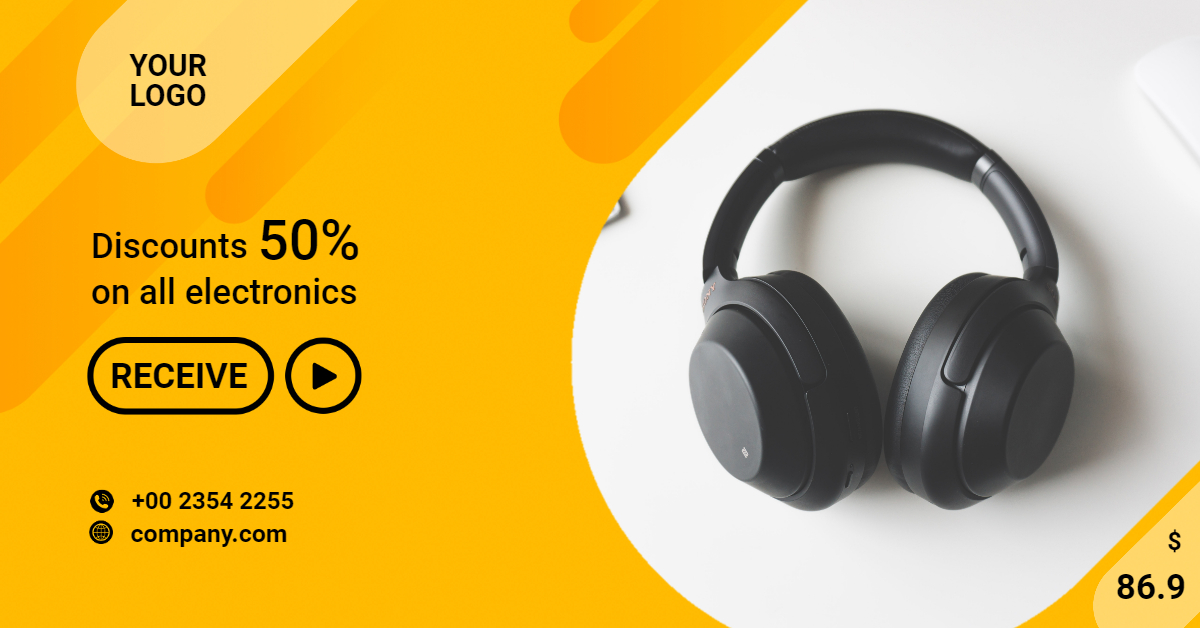 Black Headphones Banner Template